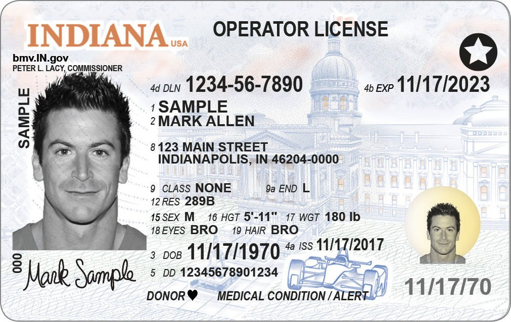 New Indiana over-21 driver's license