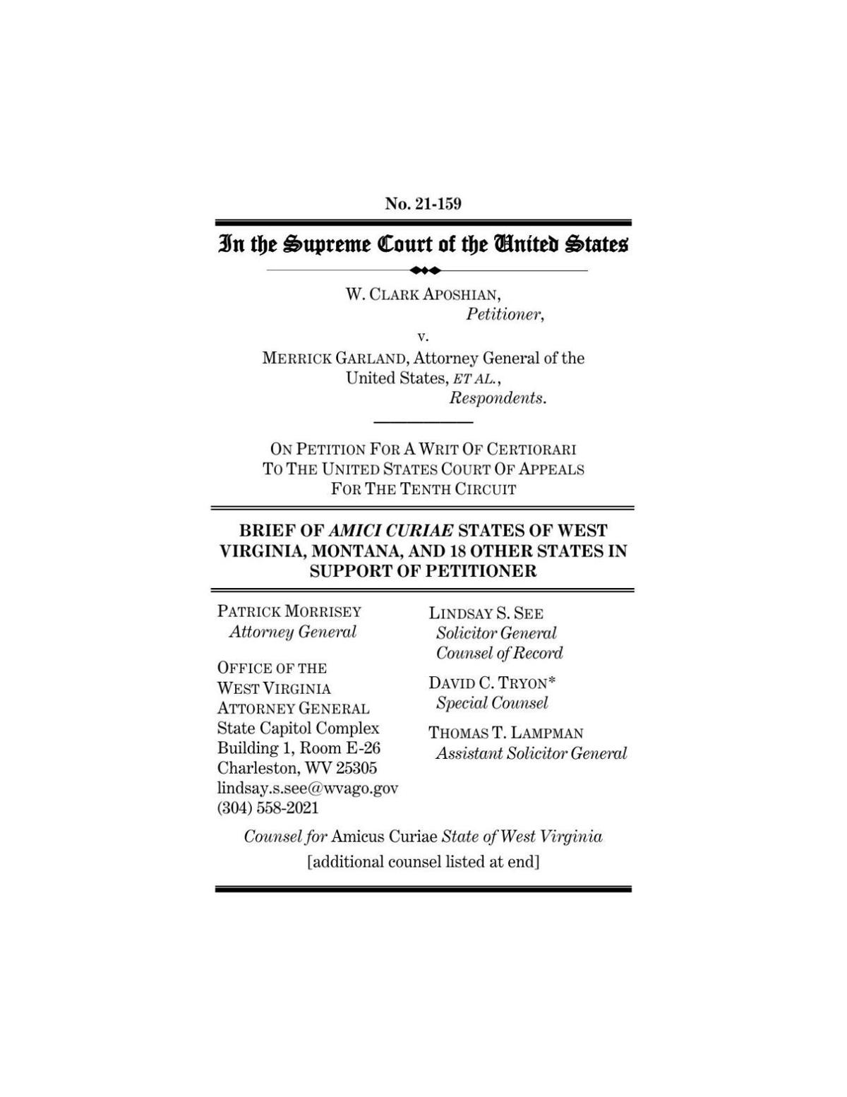 Indiana-supported amicus brief urging U.S. Supreme Court review of federal bump stock ban