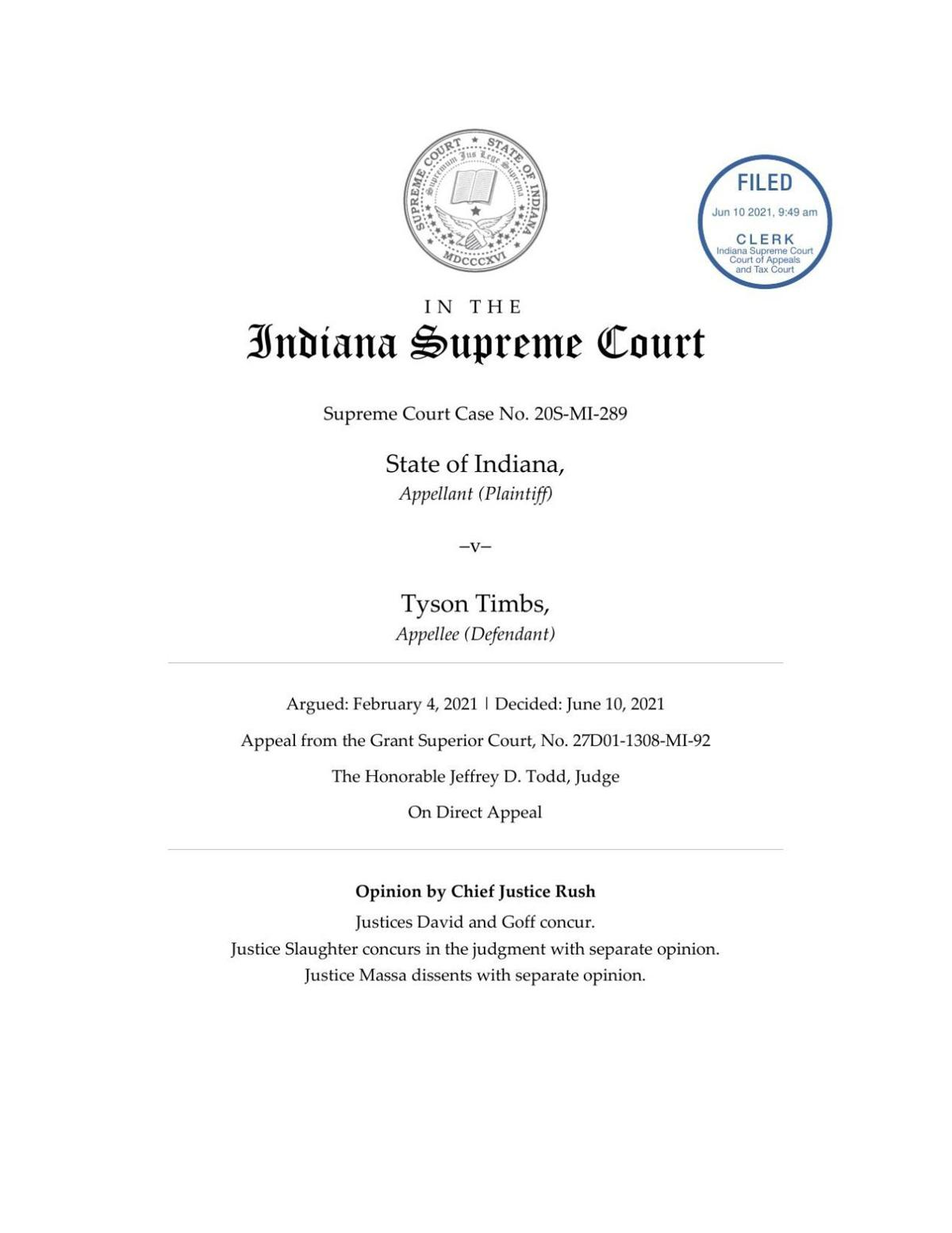 Indiana v. Timbs ruling of Indiana Supreme Court