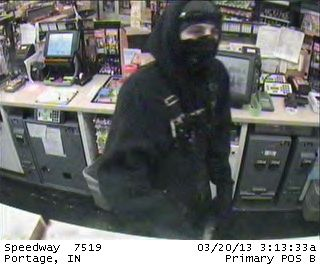 Armed robber strikes two Portage businesses today