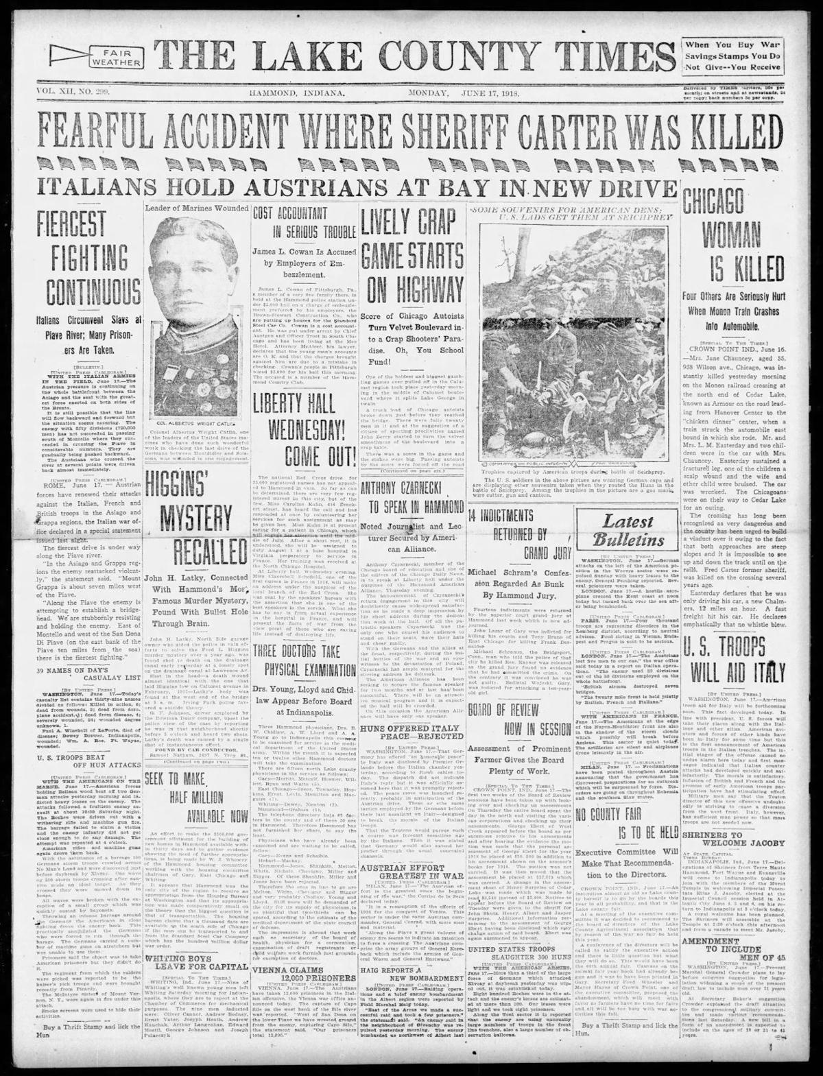 June 17, 1918: Fearful Accident Where Sheriff Carter Was Killed
