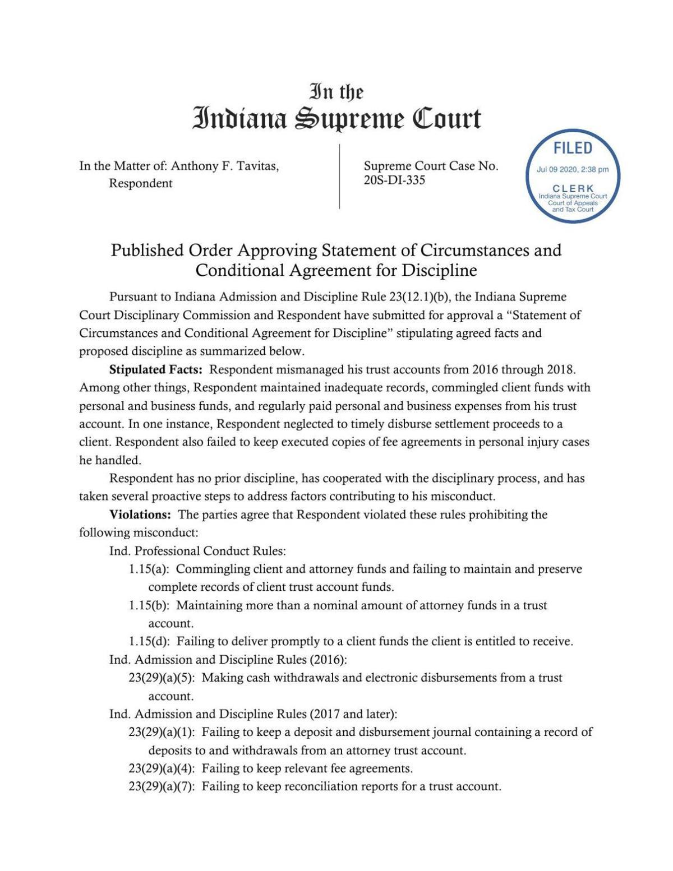 Indiana Supreme Court Sanctions 2 Region Lawyers
