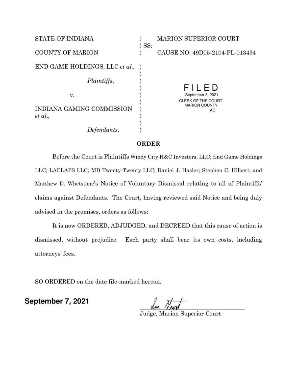 Dismissal order in End Game Holdings v. Indiana Gaming Commission