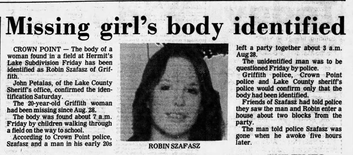 Robin Szafasz's body found