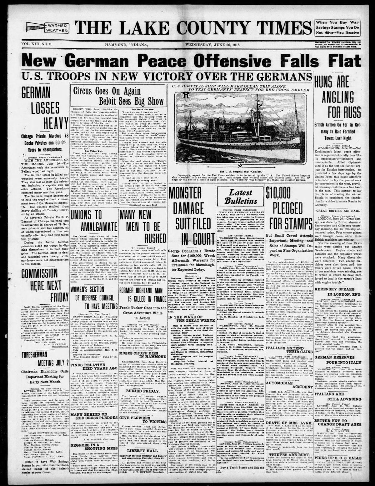 June 26, 1918: Circus Goes On Again, Beloit Sees Big Show