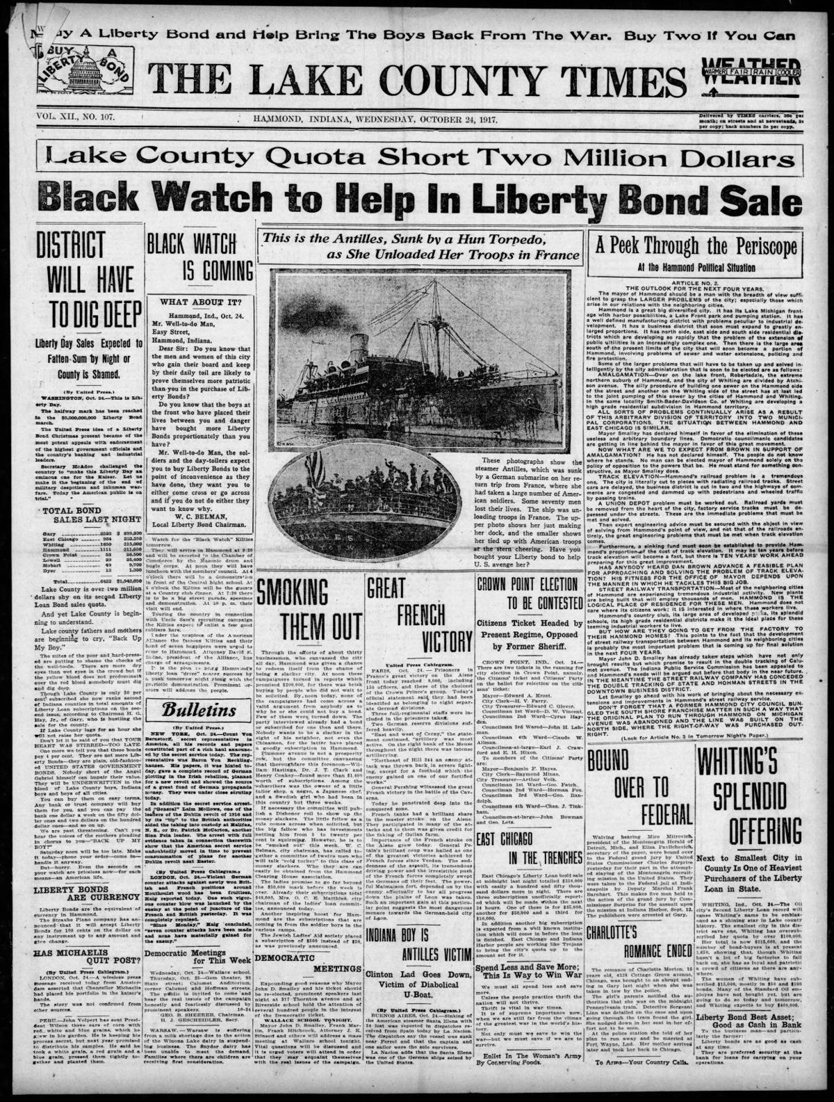 Oct. 24, 1917: Black Watch To Help In Liberty Bond Sale