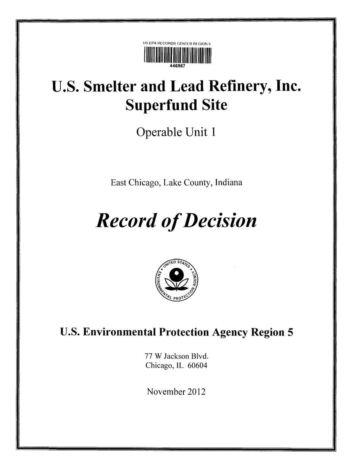 2012 Record of Decision for USS Lead site