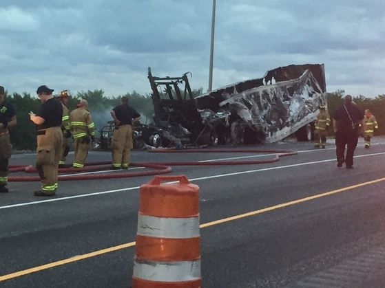 UPDATE: Brakes contributed to fire involving semitrailer hauling corrosive materials, police say