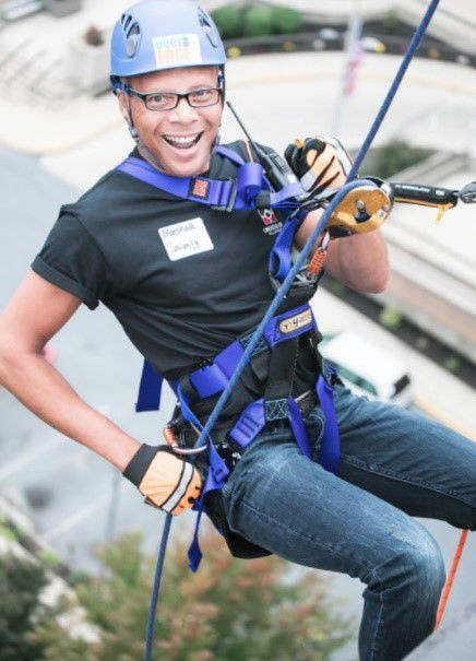 Rappel off the roof of the Centier Centre office tower for a good cause