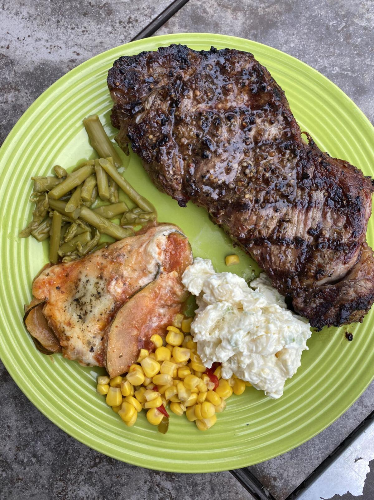 grilled steak.
