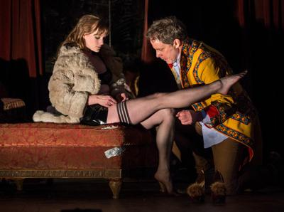 """Actress Amanda Drinkall and Actor Rufus Collins in Goodman Theatre's """"Venus in Fur"""" Directed by Joanie Schultz"""