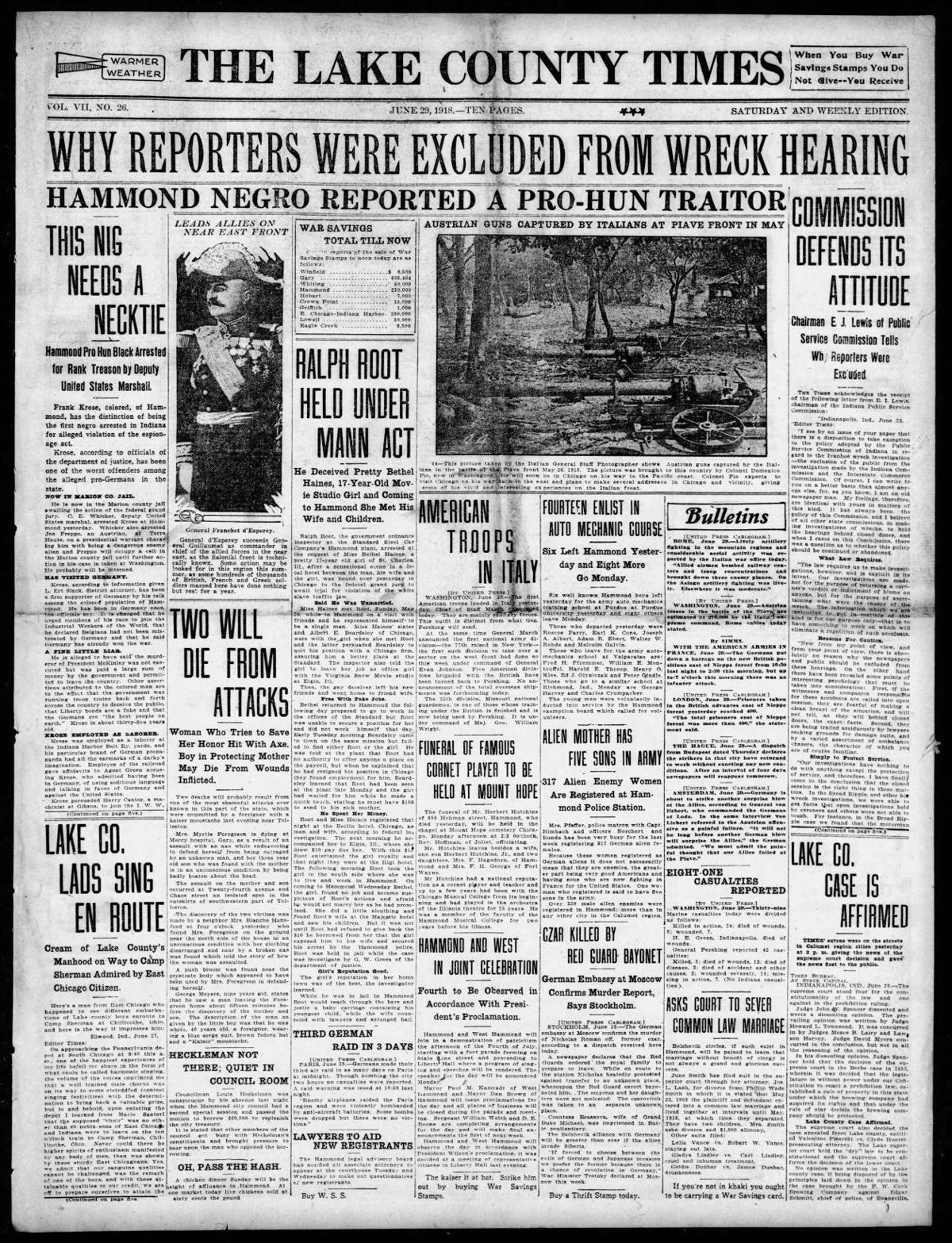 June 29, 1918: Why Reporters Were Excluded From Wreck Hearing