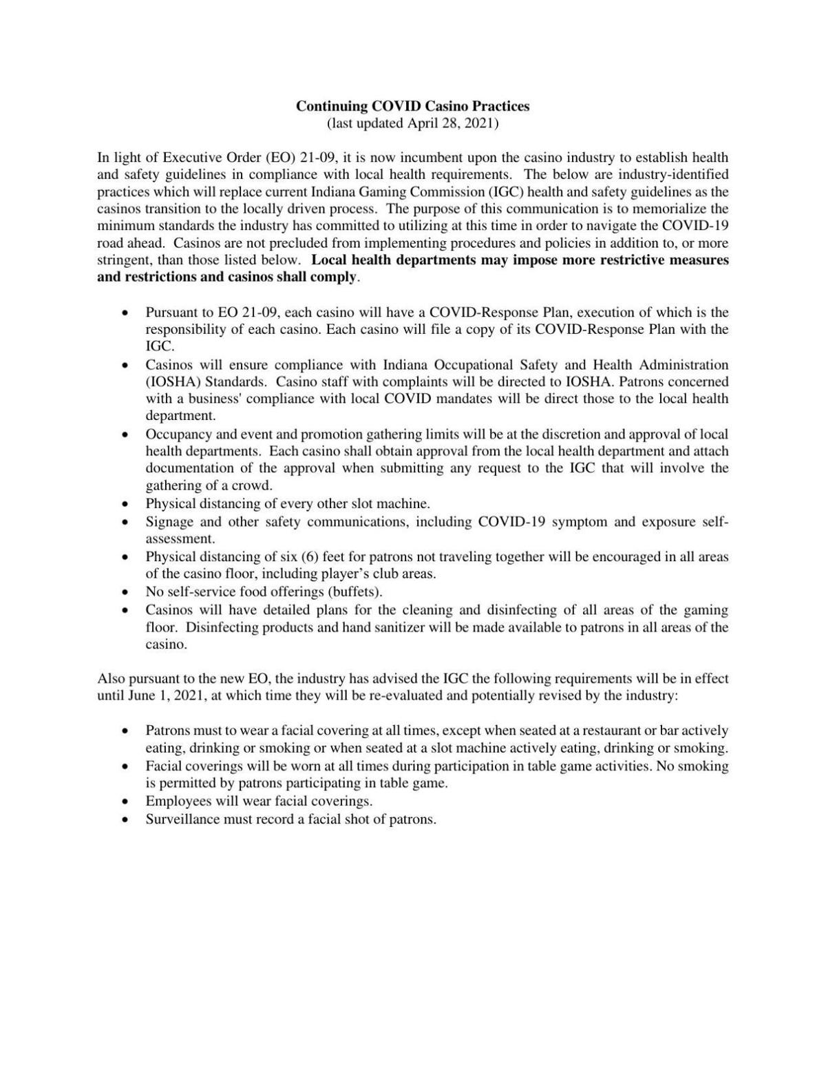 Indiana Gaming Commission notice on casino COVID-19 prevention protocols