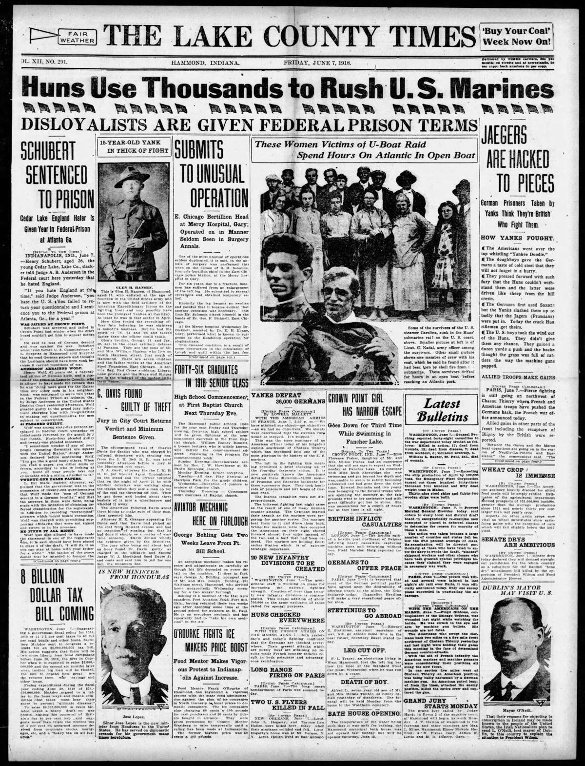 June 7, 1918: Crown Point Girl Has Narrow Escape