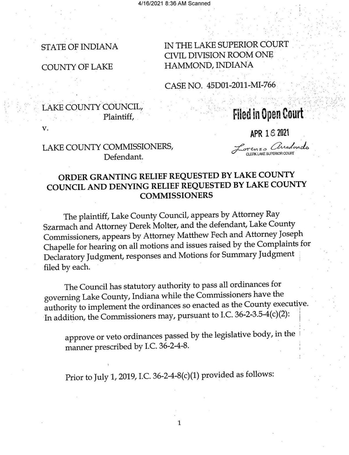 Court ruling in Lake County Council v. Lake County Commissioners
