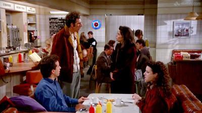 "Seinfeld, ""The Stall,"" Jerry Seinfeld, Michael Richards, Jami Gertz and Julia Louis-Dreyfus."