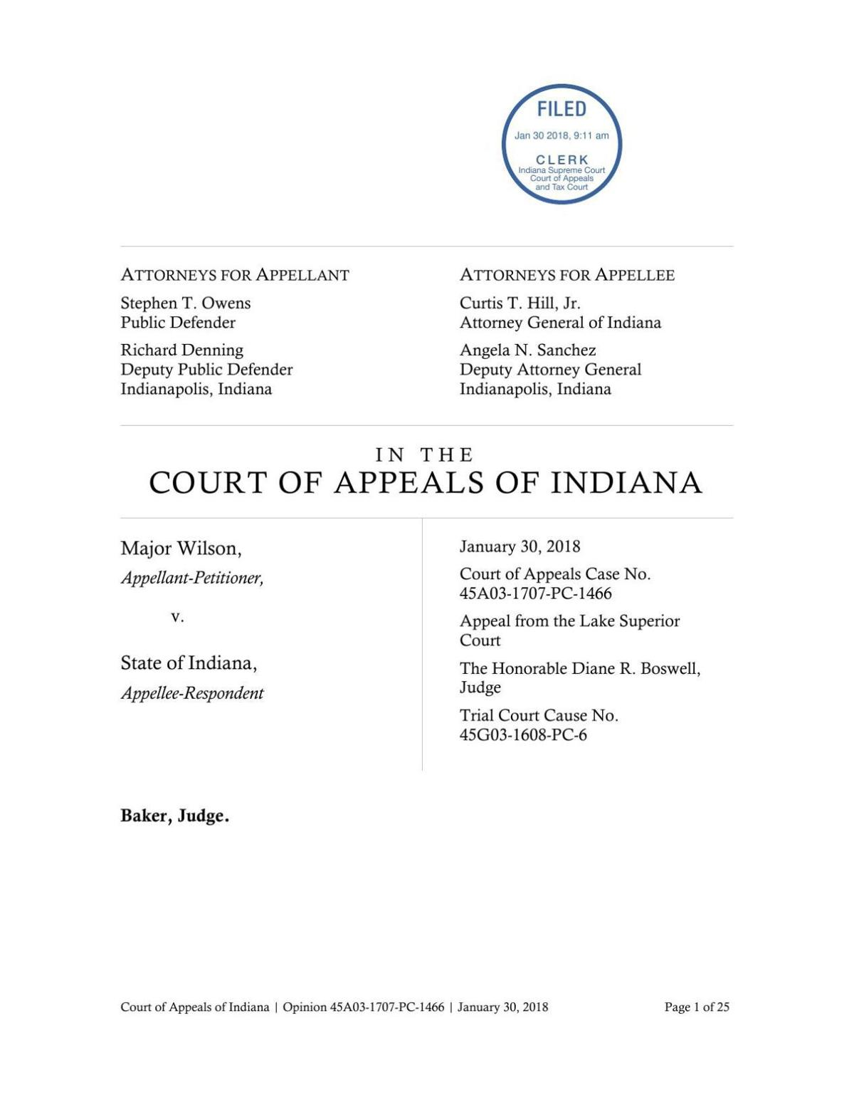 Wilson v. State ruling of Indiana Court of Appeals (2018)