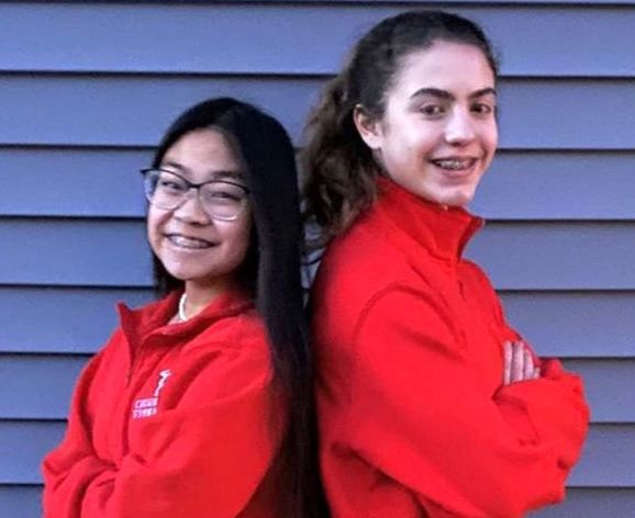 Crown Point gymnasts Ysable Maunes and Charlotte Annes