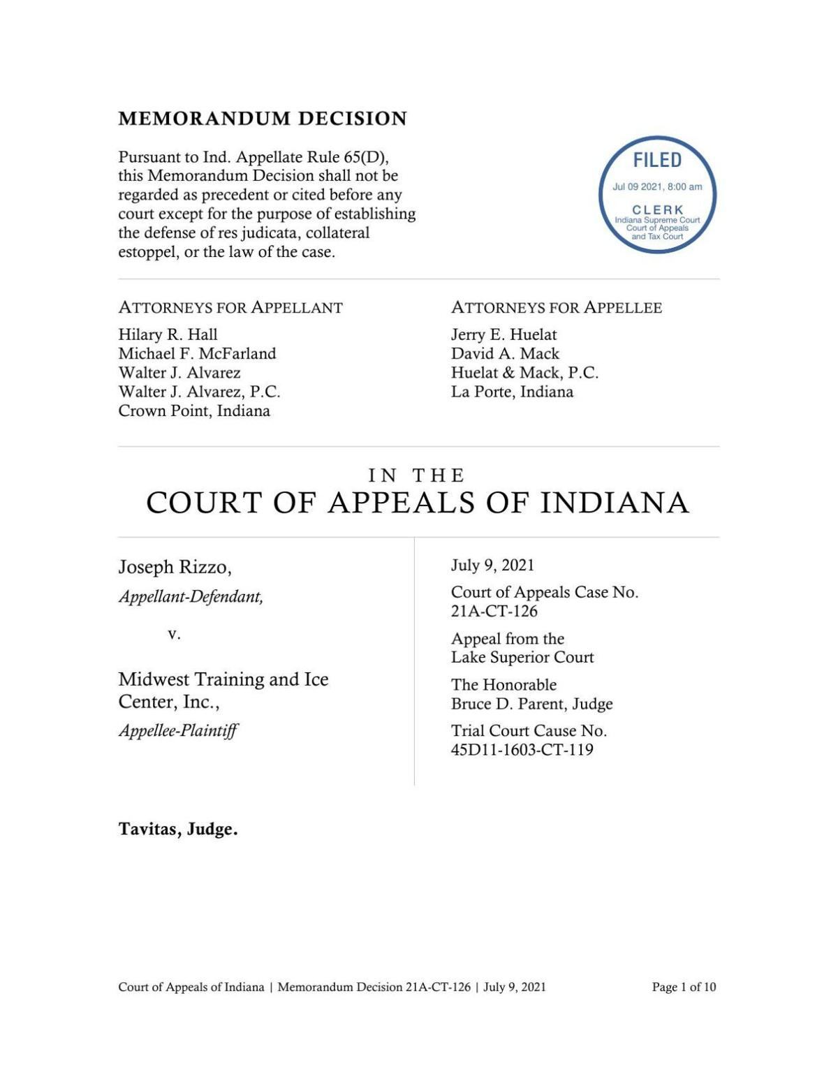 Rizzo v. Midwest Training and Ice Center ruling of Indiana Court of Appeals