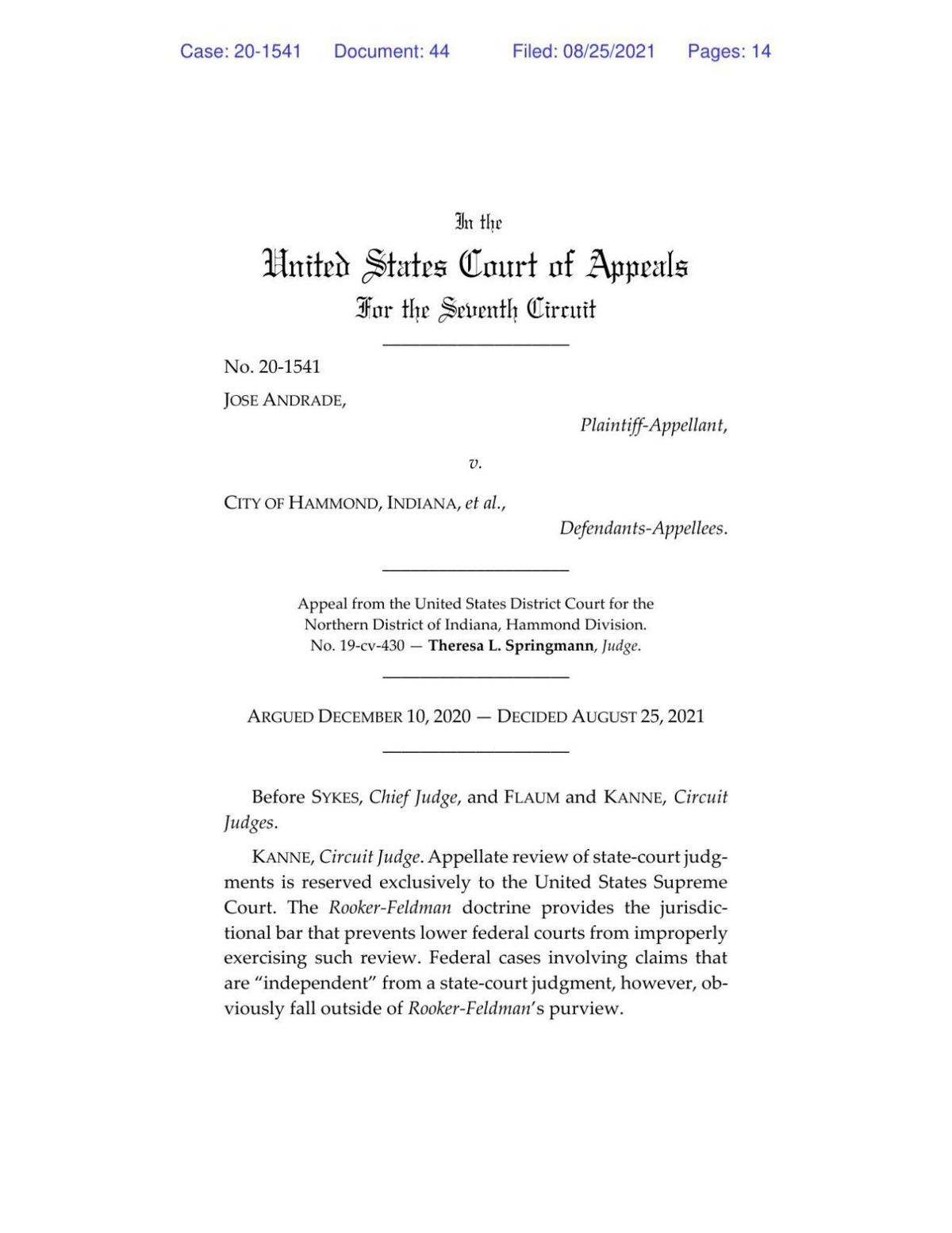 Andrade v. Hammond ruling of 7th U.S. Circuit Court of Appeals