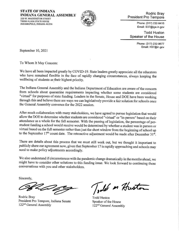 School funding letter from Indiana legislative leaders