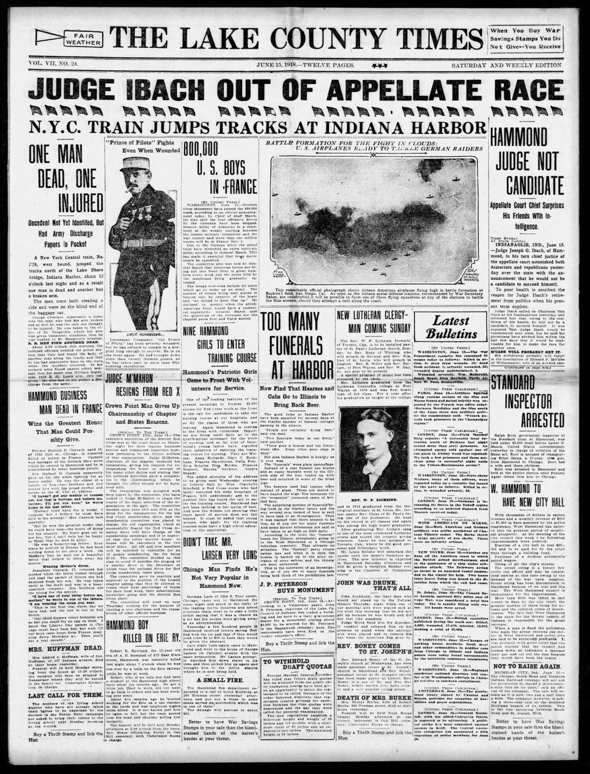 June 15, 1918: N.Y.C. Train Jumps Tracks At Indiana Harbor