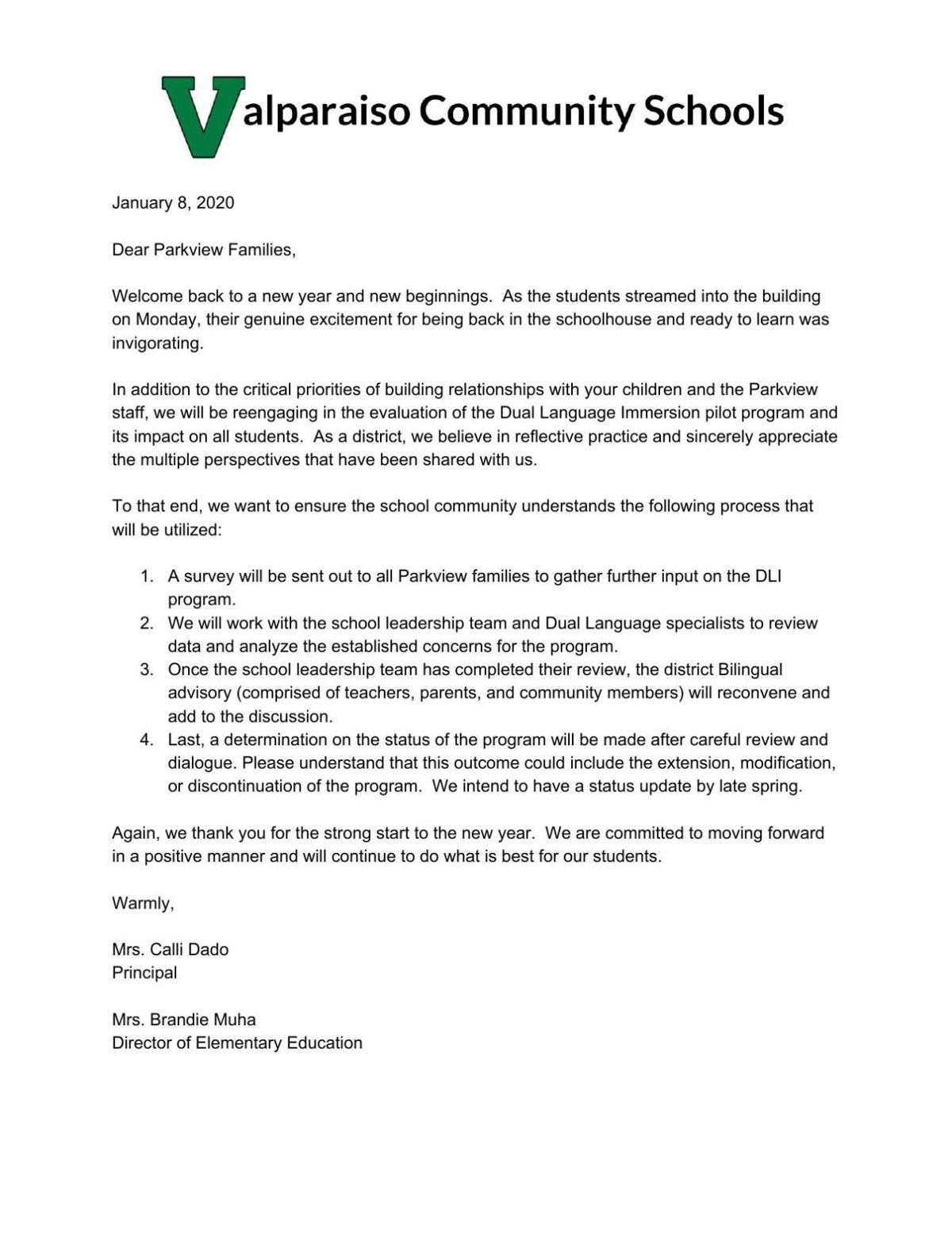 Valparaiso schools January 2020 letter to Parkview parents