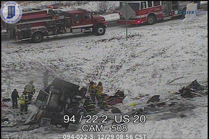 Crashes shut down two westbound lanes of I-94 near Burns Harbor