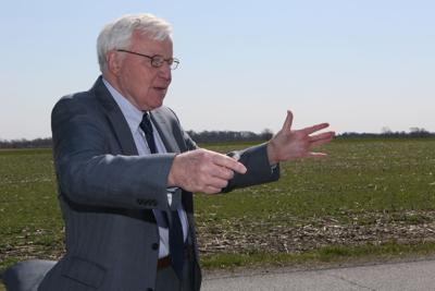 Frank Patton explains his ideas for the Great Lakes Basin Rail Line