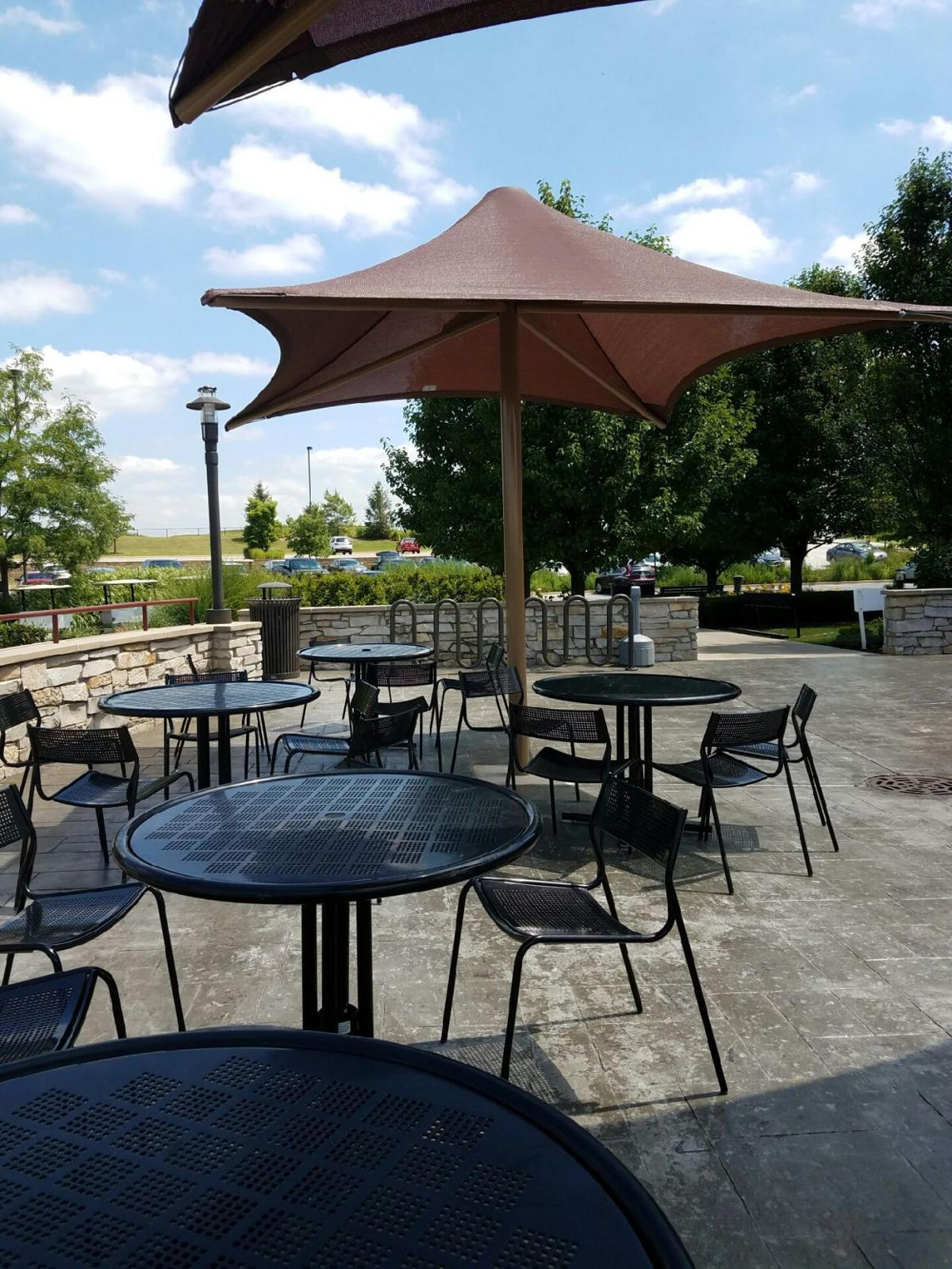 Outdoor seating area at The View