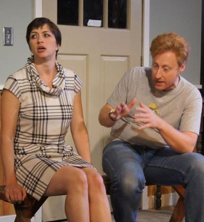 "Actress Kimberly Logan as Beth and Andrew J. Pond as Husband Mike in ""All-American"" at Redtwist Theatre in Chicago"