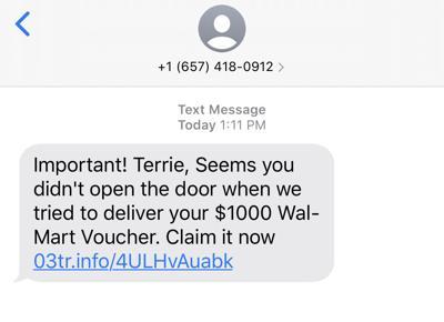 Michigan City police warn of Walmart text scam