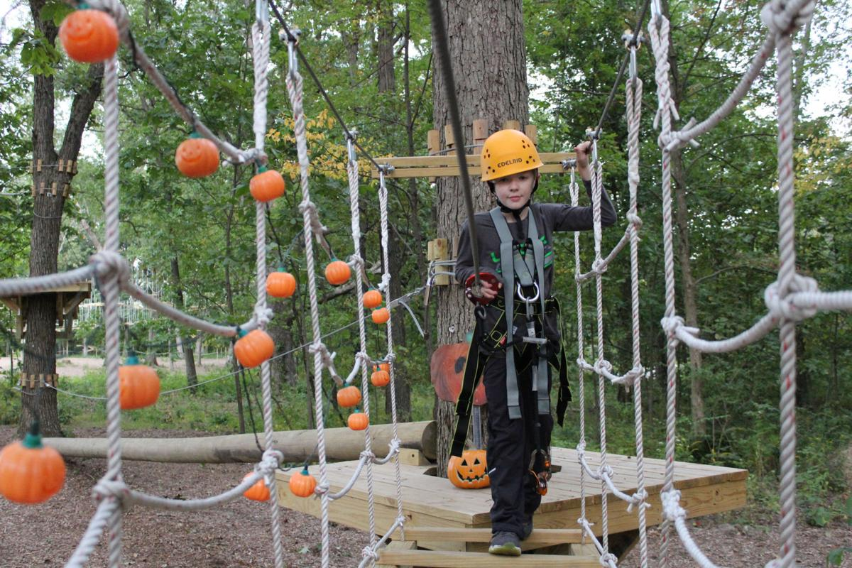 crown point aerial park transforms for halloween includes zombies