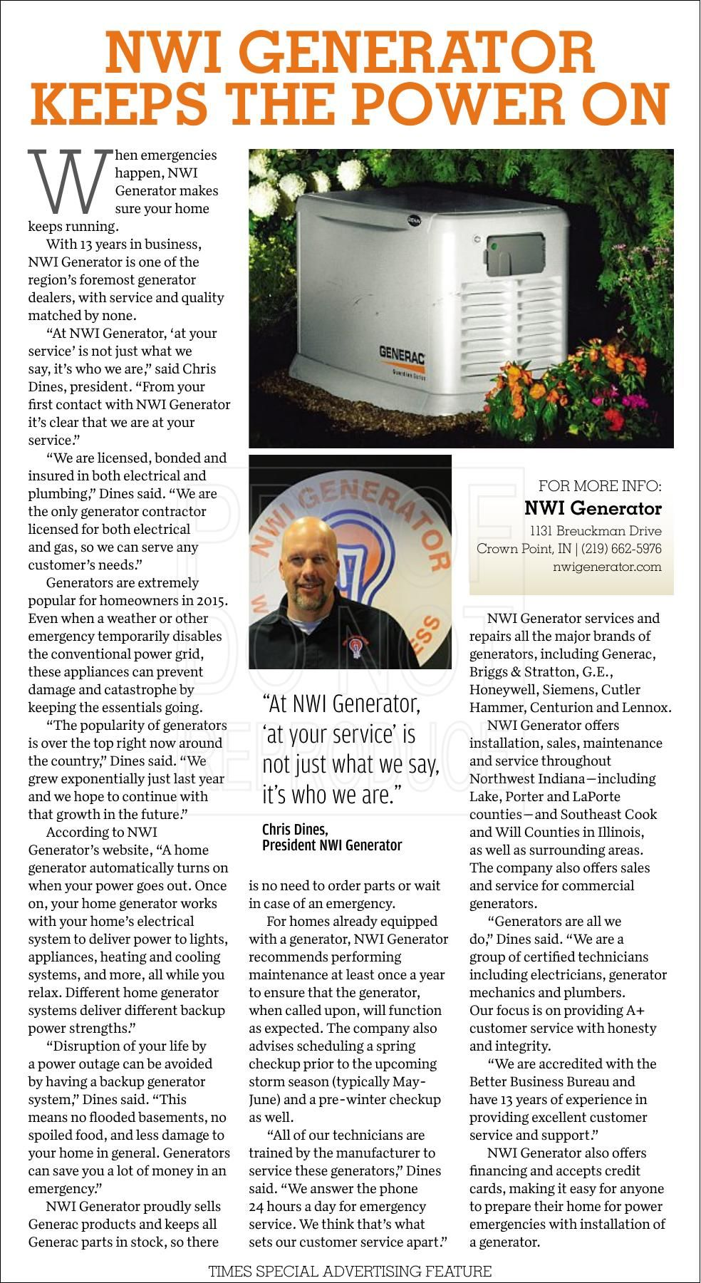NWI Generator Keeps the Power On
