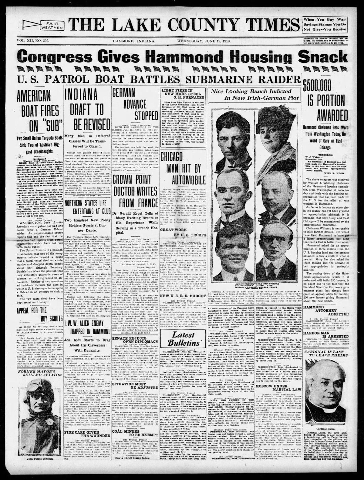 June 12, 1918: I.W.W. Alien Enemy Trapped In Hammond