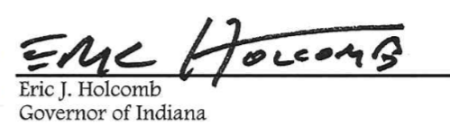 Gov. Eric Holcomb signature