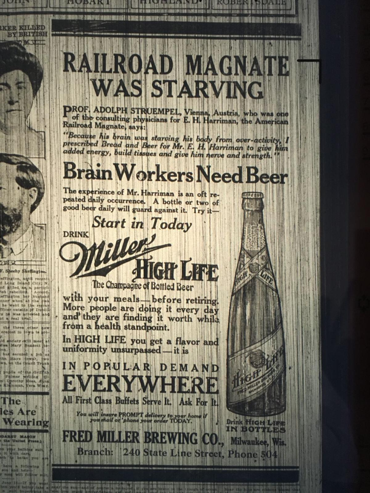 Living the (Miller) High Life in 1916