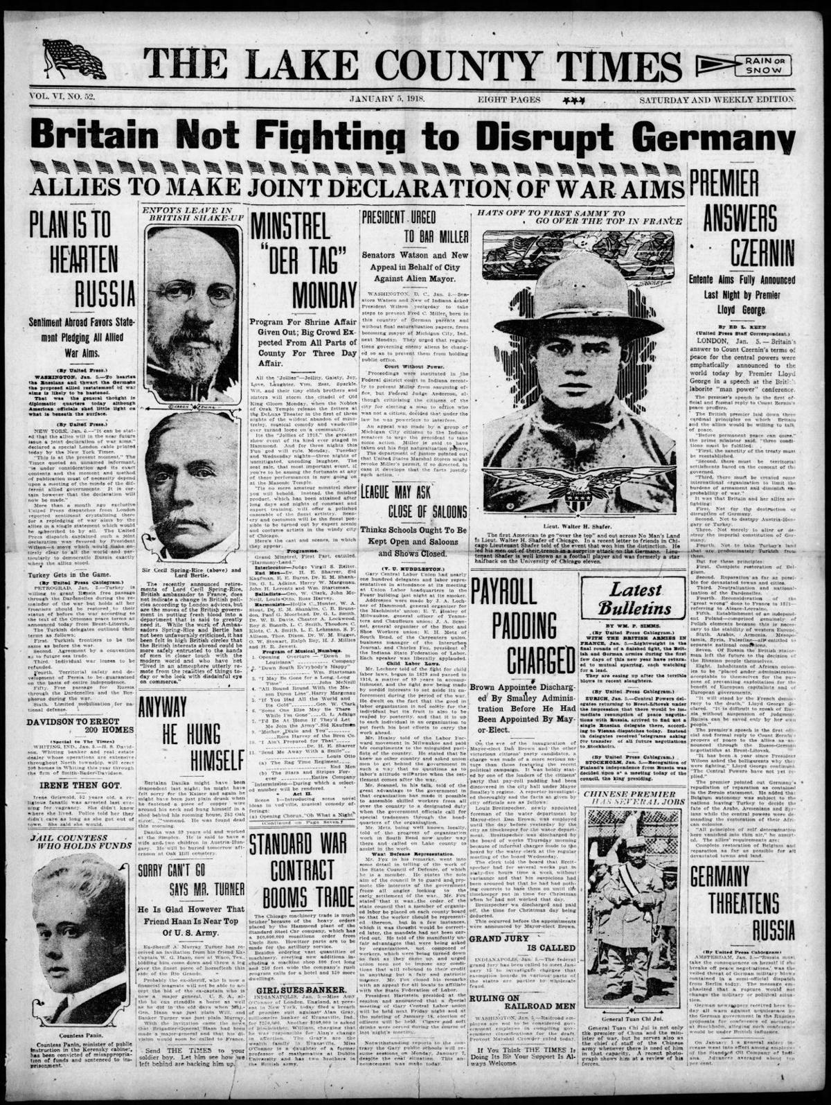 Jan. 5, 1918: Payroll Padding Charged