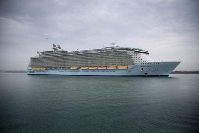 """The world's largest cruise ship, """"Oasis of the Seas,"""" arrives in Southampton Water on October 15, 2014 in Southampton, England. (Matt Cardy/Getty Images/TNS) *FOR USE WITH THIS STORY ONLY*"""