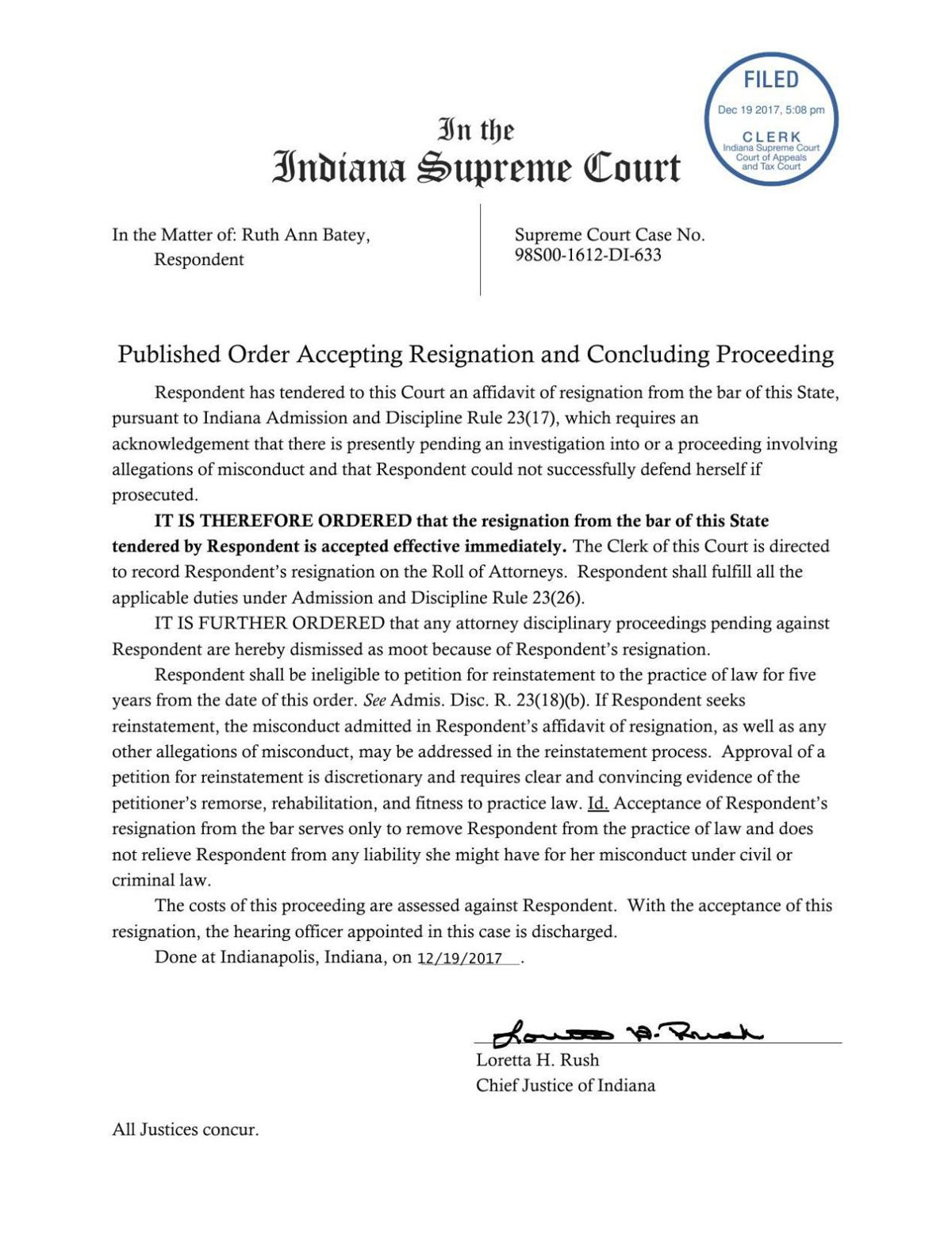 In the matter of Ruth Ann Batey ruling of Indiana Supreme Court