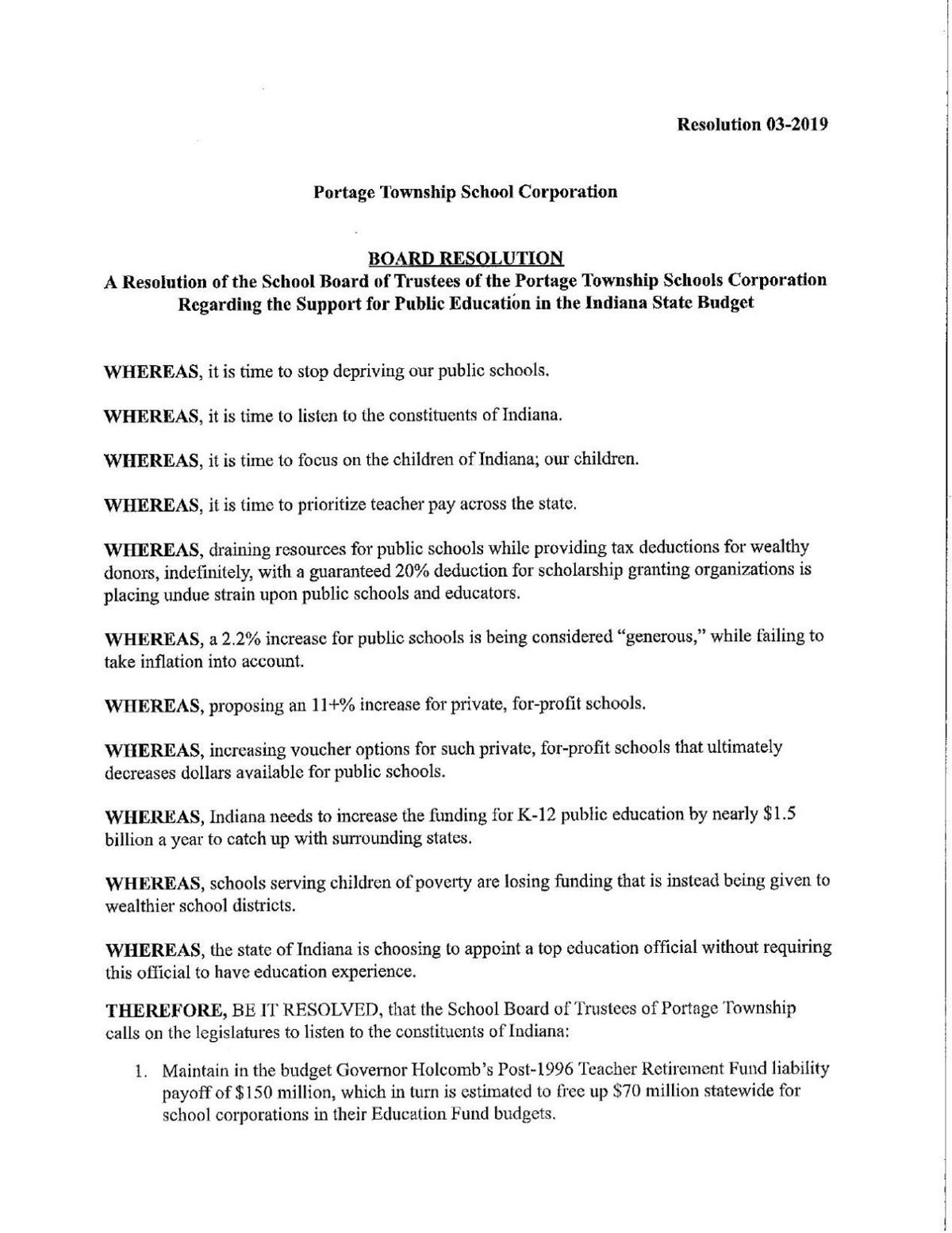 Portage Resolution 03-2019 Support of Public Education