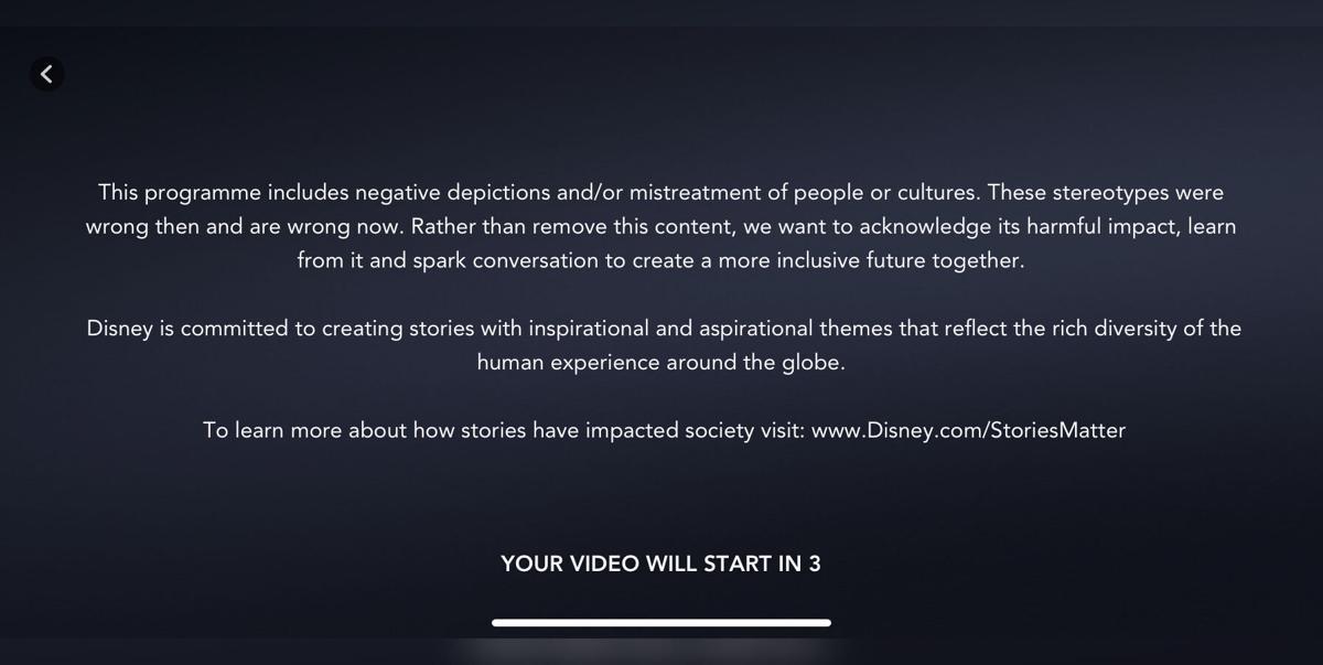 Disney+ disclaimer