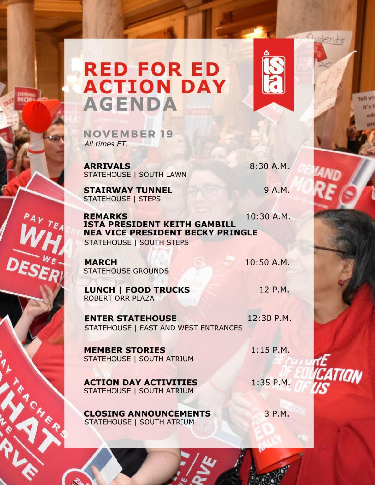 ISTA's Red for Ed Action Day agenda