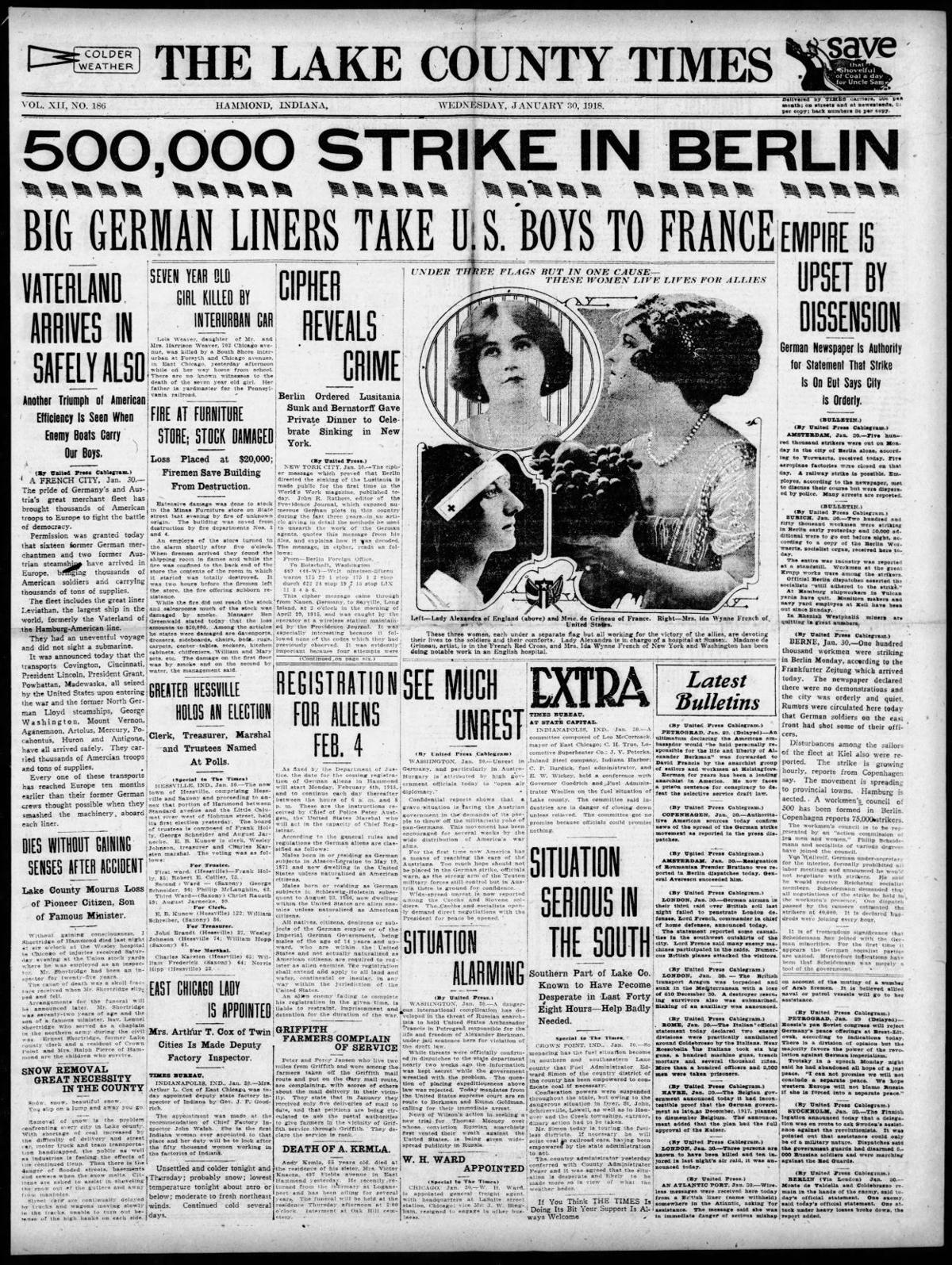 Jan. 30, 1918: Big German Liners Take U.S. Boys To France