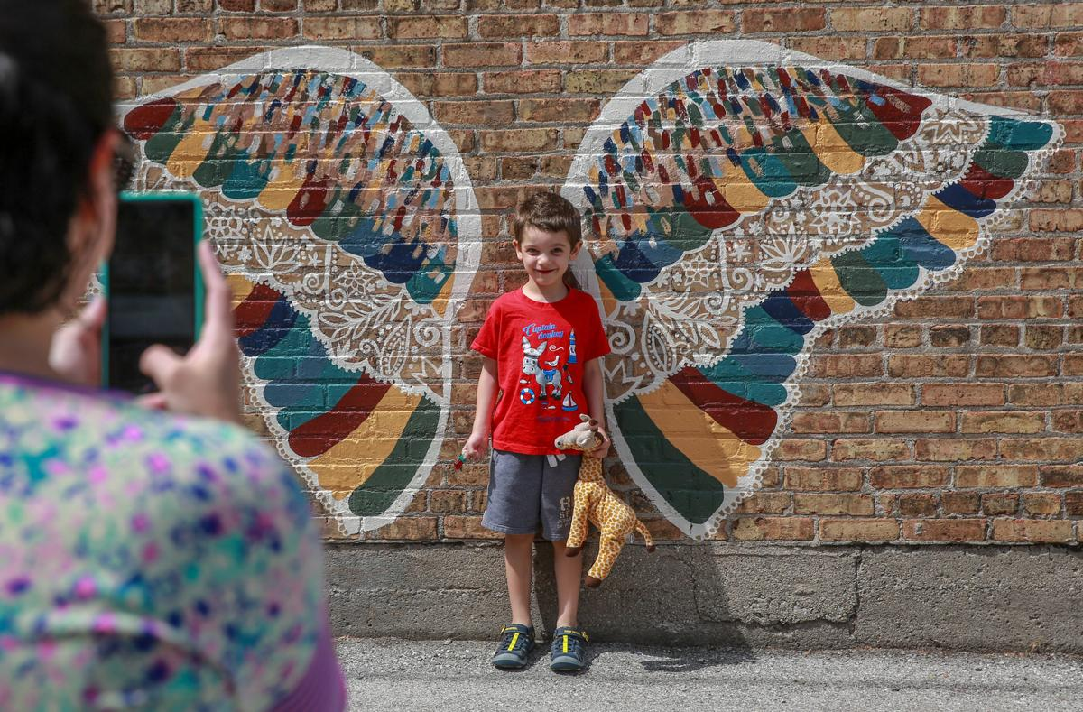 Crown Point High School students' angel wings public art project