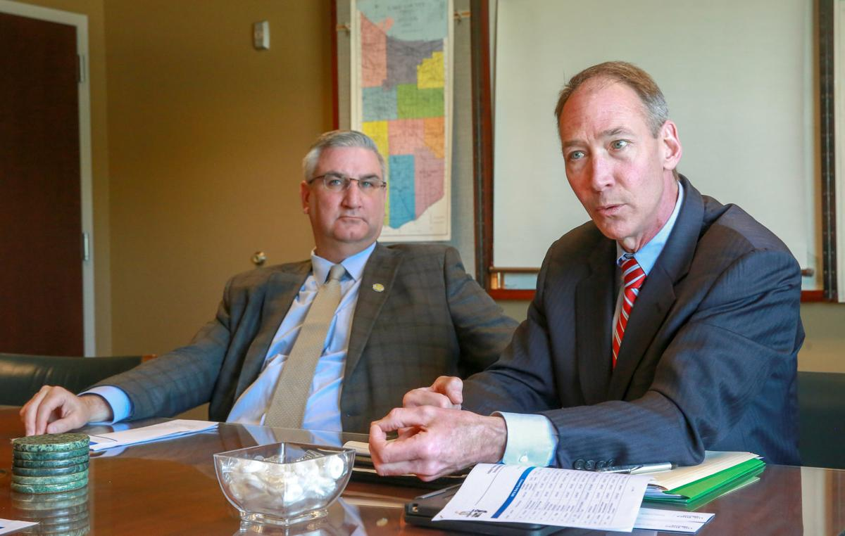 Gov. Eric Holcomb and Department of Environmental Management Commissioner Bruno Pigott
