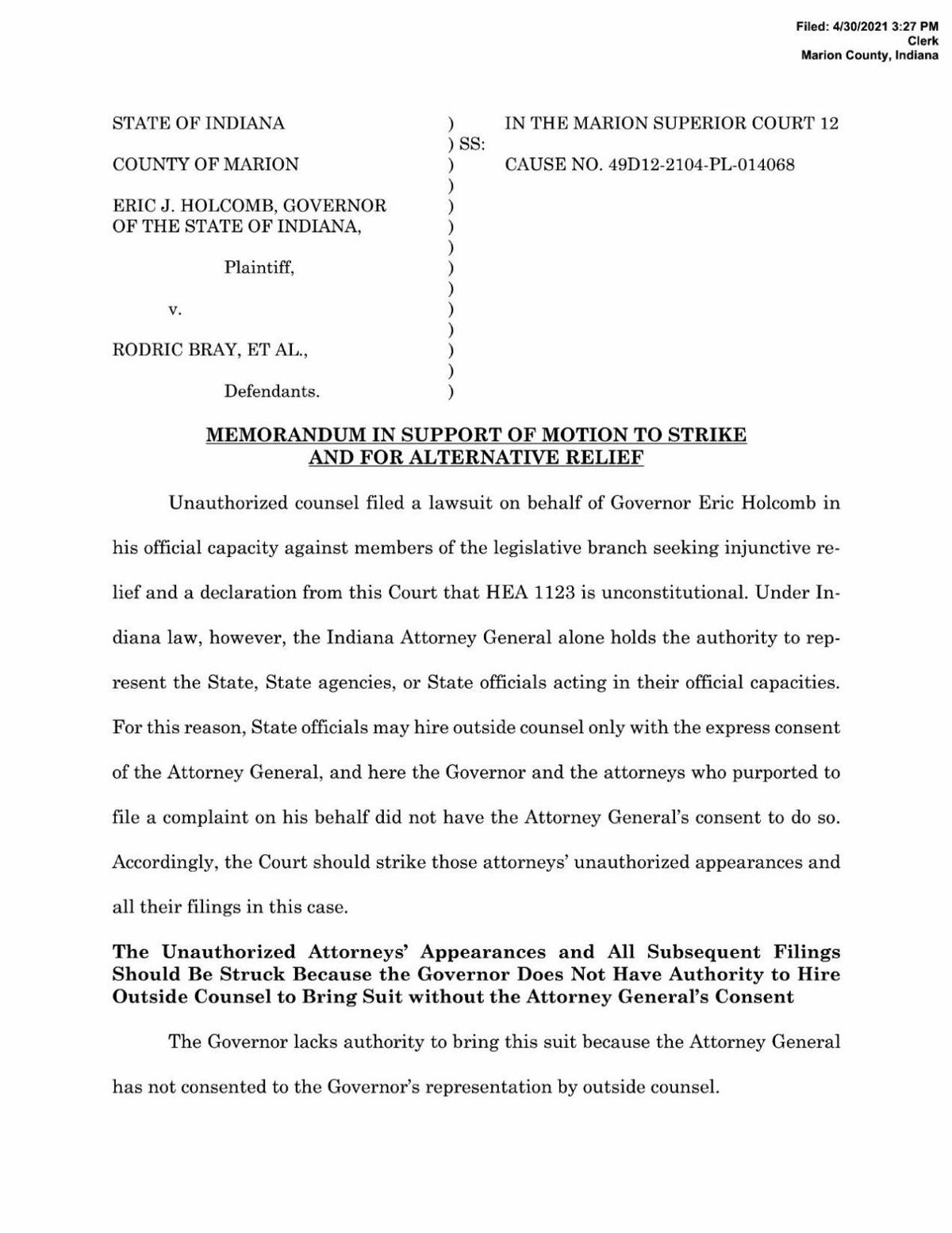 Attorney General's motion to strike complaint in Holcomb v. General Assembly