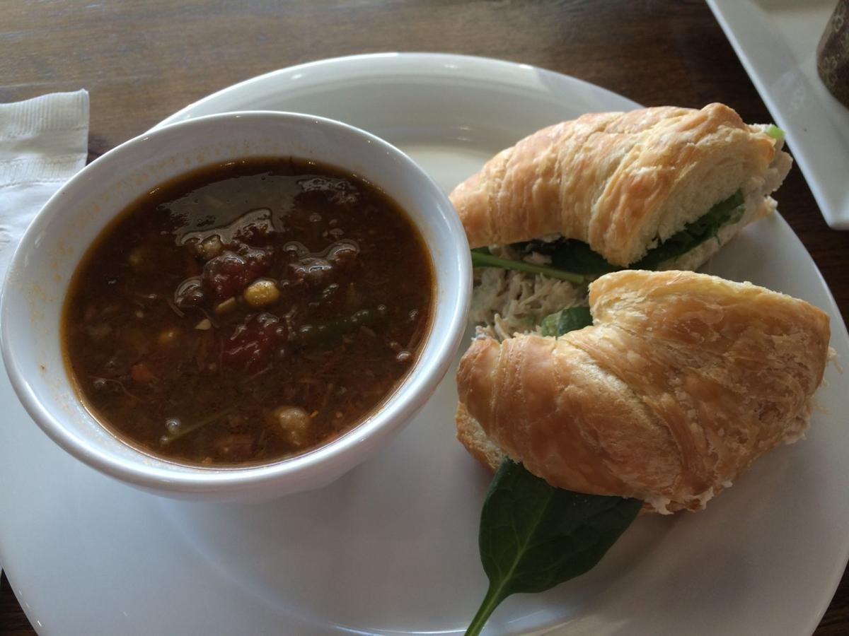 Beef vegetable soup and chicken salad croissant