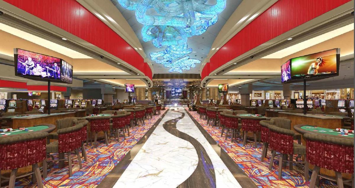 Center aisle inside Hard Rock Casino Gary