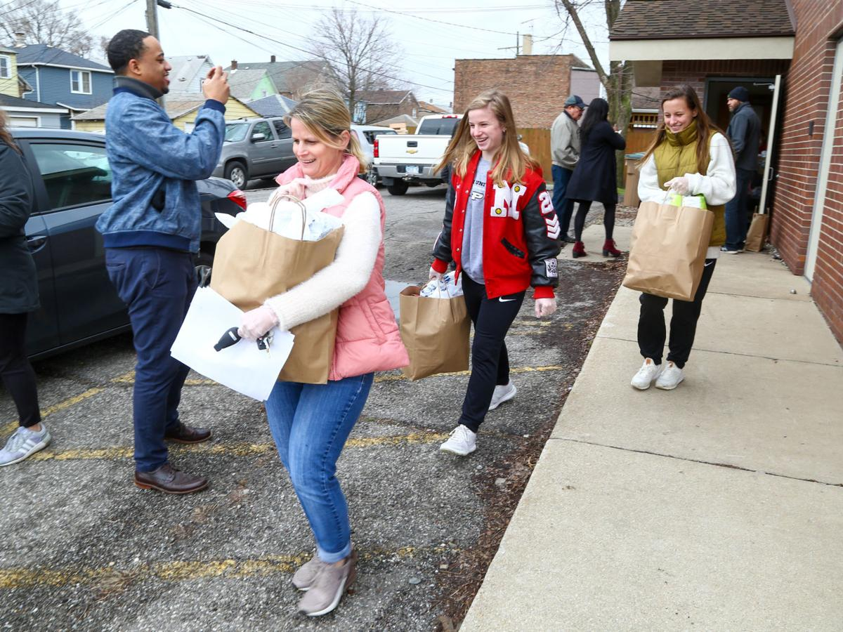 Volunteers from various organizations picking up food and delivering it to senior citizens.